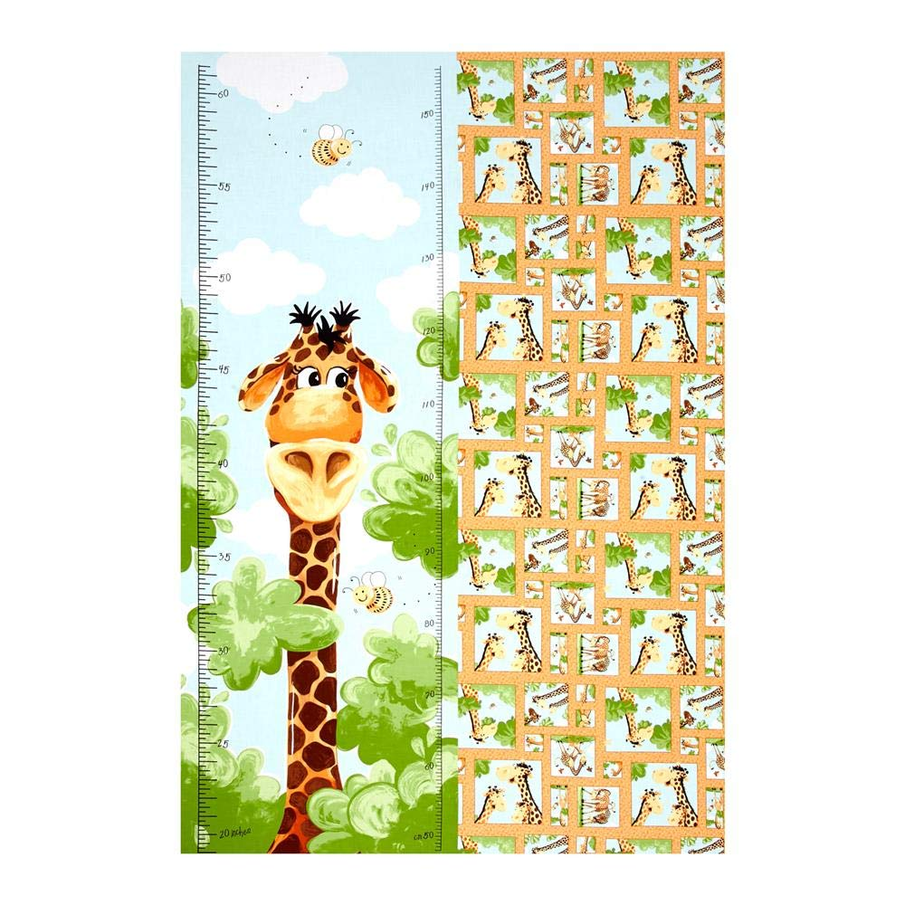 Hamil Textiles Susybee Zoe The Giraffe Growth Chart 29in Panel Fabric, Brown