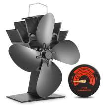 Sumapner 4 Blade Stove Fan – Quiet, Heat Powered Wood/Log Burner Fan - Eco Friendly Heat Circulation for Fireplaces +Stove Thermometer
