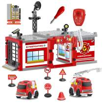 FUN LITTLE TOYS Fire Truck Fireman Toys, 61PCs Toy Building Sets, Take Apart Toys with Tools, 19.5'' x 13'' Fire Station with Light and Sound for Kids Pretend Play