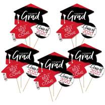 Big Dot of Happiness Red Grad - Best is Yet to Come - 2020 Red Graduation Party Centerpiece Sticks - Table Toppers - Set of 15