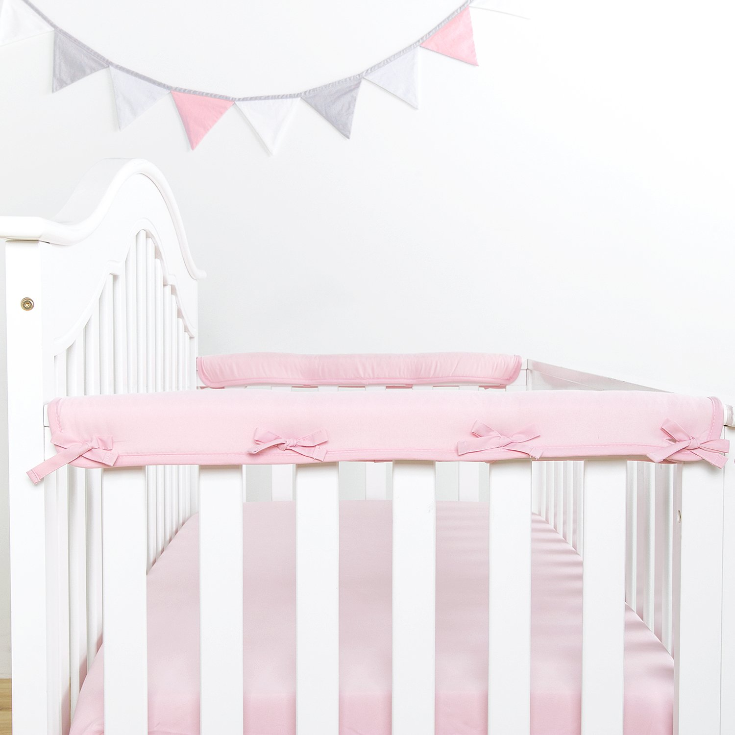 """TILLYOU 2-Pack Padded Baby Crib Rail Cover Protector Safe Teething Guard Wrap for Narrow Side Crib Rails(Measuring Up to 8"""" Around), 100% Silky Soft Microfiber Polyester, Reversible, Lt Pink/White"""