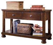 Signature Design by Ashley - Porter Entertainment Sofa Table w/ Fixed shelf, Rustic Brown