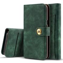 Galaxy Note 10 Plus Case, Vintage 2 in 1 [Magnetic Detachable] Flip Folio Wallet PU Leather Cases Removable Retro [4 Card Holder Slots] Cover for Samsung Galaxy Note 10 Plus - Green