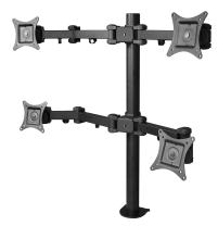 """SIIG Articulating Adjustable Quad 4-Monitor Desk Mount - Fits 13"""" to 27"""" Monitors - (CE-MT0S12-S1)"""