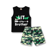 Baby Boy Brother Matching Outfits Kids Boy Big Little Brother Sleeveless Tank Tops T-Shirt Shorts Clothes Set
