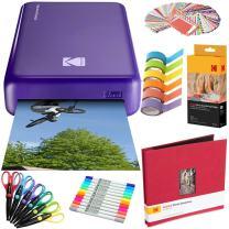Kodak Mini2 Instant Photo Printer (Purple) Art Bundle + Paper (20 Sheets) + 8x8 Cloth Scrapbook + 12 Twin Tip Markers + 100 Border Stickers + 6 Decorative Scissors + Washi Tape