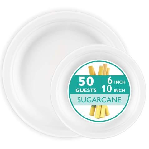 100 Biodegradable Disposable Plates Set - Bulk Dinner & Salad Compostable Tree Free Sugarcane Plates, Microwave Safe