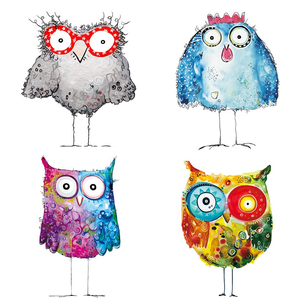 decalmile Colorful Owl Wall Stickers Kids Room Wall Decor Peel and Stick Wall Decals for Kids Bedroom Nursery Baby Room Living Room