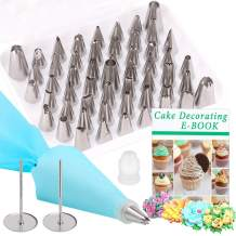Cake Decoration Tips Kit, PEMOTech 57pcs Icing Cake Decoration Tips Kits Supplies Set of 52 Stainless Steel Piping Tips & 2 Flower Nails & 1 Standar Coupler&1 Silicone Pastry Bag & 1 Storage Box