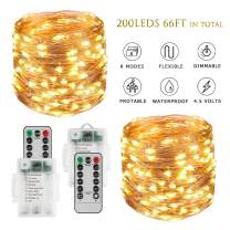BINZET Fairy Lights Battery Operated - 33Ft 100LED Sliver Wire String Lights Waterproof 8 Modes LED Lighting String with Remote Control for Christmas Wedding Party Home DIY Decor, Warm White 2 Pack