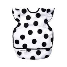 Tiny Twinkle Mess-Proof Apron Bib - Polka Dot Print - Baby and Toddler Waterproof and Machine Washable Apron Smock Bib with Flip Pocket