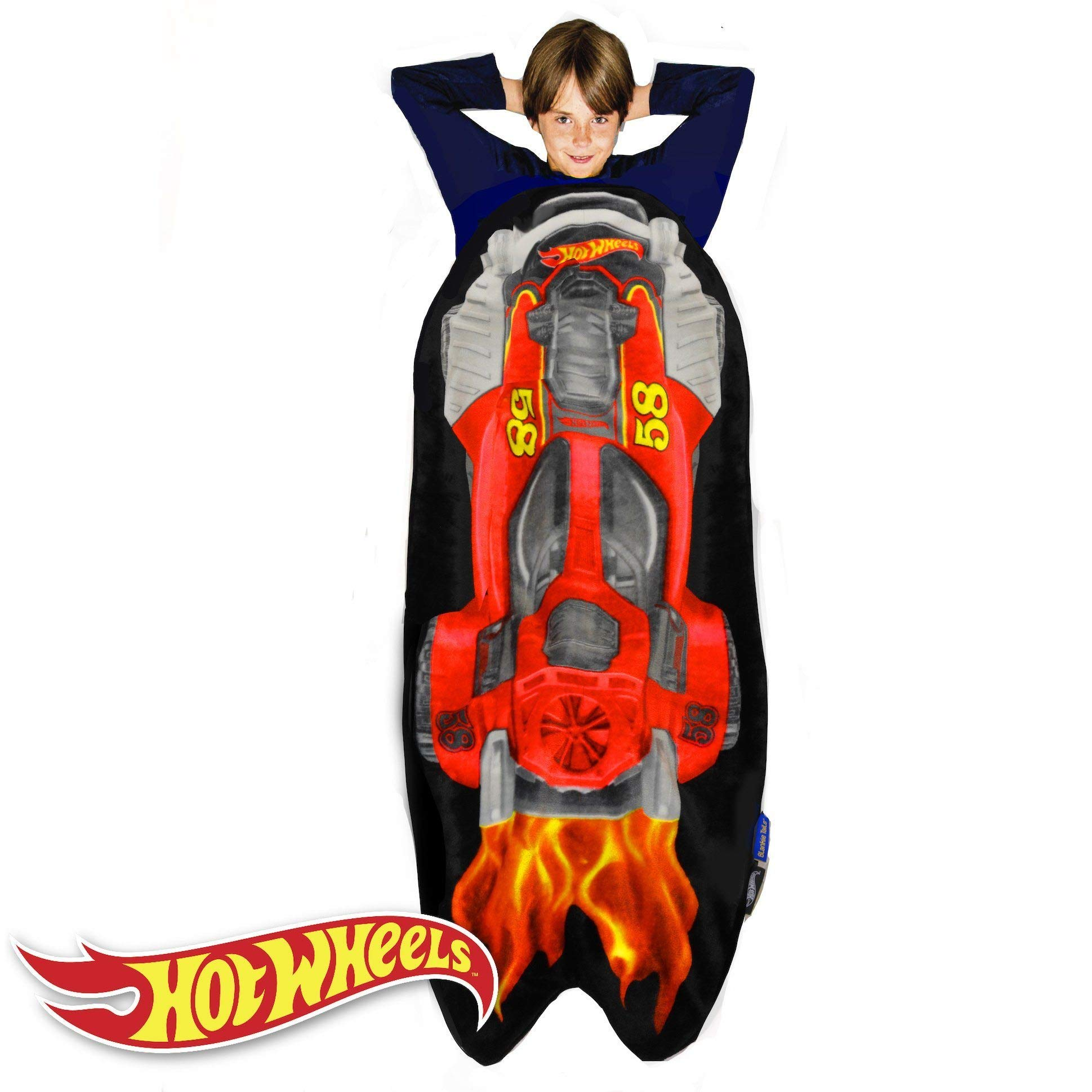Blankie Tails Hot Wheels Car Shaped Blanket Super Soft-Double Sided Minky Fleece Sized for Kids- Climb Inside This Cozy Wearable Blanket