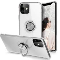 iPhone 11 Case 6.1 inch 2019, Clear Body Soft TPU Shockproof Case with 360 Degree Rotation Ring Kickstand(Work with Magnetic Car Mount) for iPhone 11, Clear