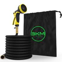 3KM Garden Hose – 100 FT Heavy Duty Expandable - Premium Flexible & Expanding - 9-Pattern High-Pressure Water Spray Nozzle & Bag - No Kink Tangle-Free Lawn & Plant Watering – 2019 Version (100)