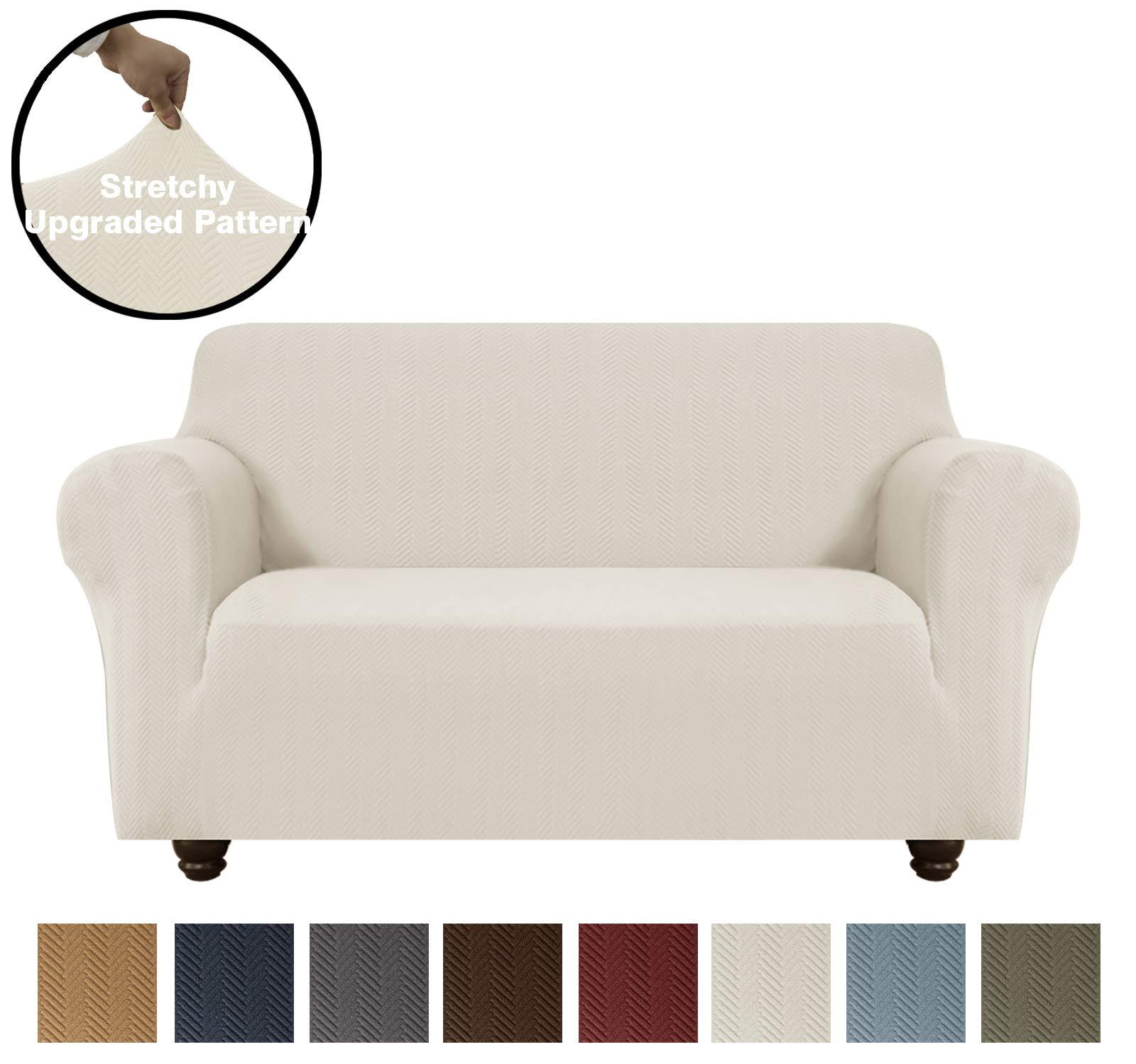 OBYTEX Stretch Sofa Slipcover Furniture Protectors Spandex Upgrade Pattern Jacquard Fabric Couch Covers Dog Cat Pet, Machine Washable (Medium, Cream)