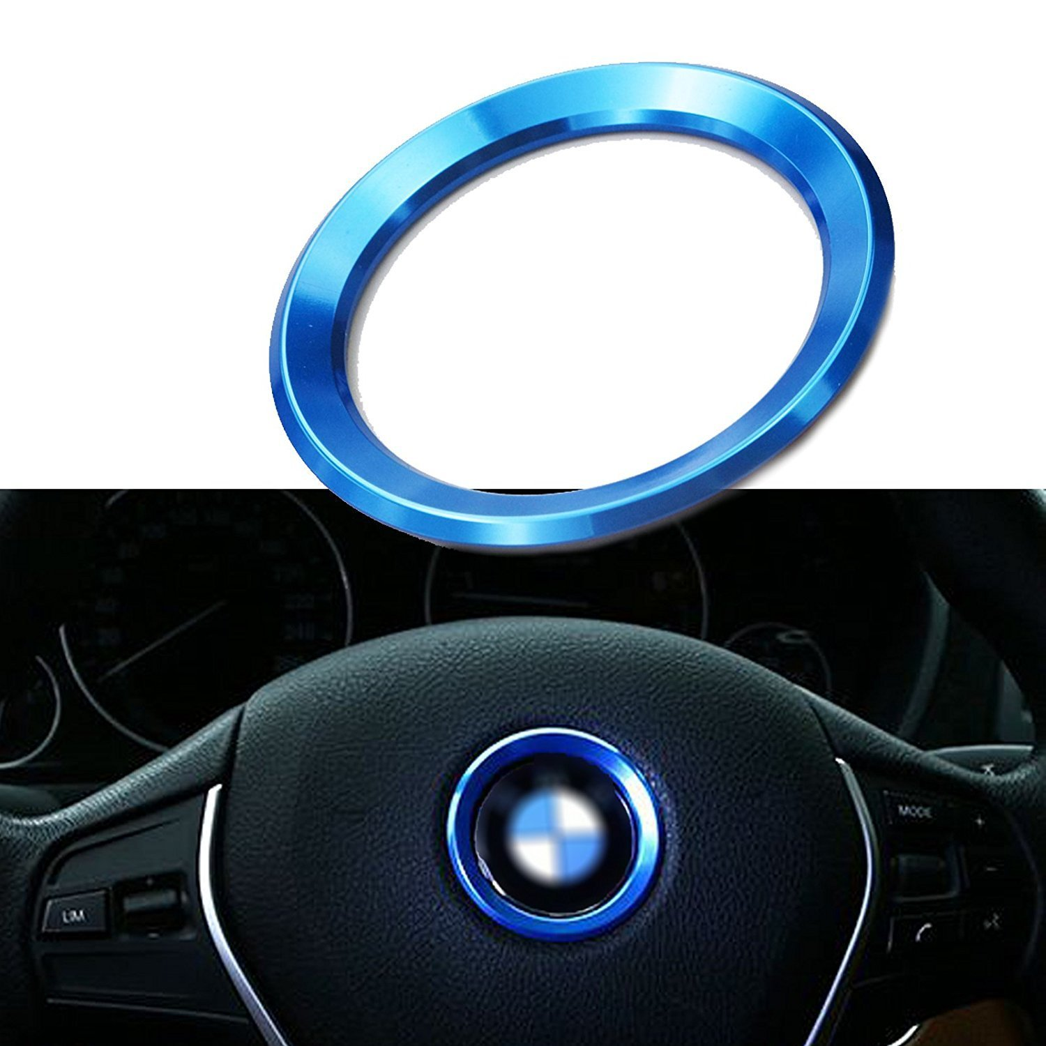 Xotic Tech 1pcs Steering Wheel Center Logo Ring Emblem Blue Trim for BMW 1 3 5 Series X3 X5 X6 2013-2015