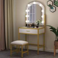 Tribesigns Vanity Table with Lighted Mirror and Cushioned Stool, Makeup Vanity Dressing Table with 9 Lights and 1 Drawers for Women, Dresser Desk Vanity Set for Small Spaces, Bedroom, Gold and White