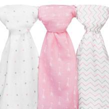 Muslin Baby Swaddle Blankets Girls, 47x47 (3 Pack) Grey, Pink Chevron, Arrow, Cross