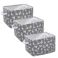 HOKEMP Large Cute Designs Animals Pattern Storage Basket [3-Pack], 13.7 x 9.8 x 9.4 in Fabric Collapsible Organizer Bin with Carry Handles, for Closet Storage, Baby Toy Basket for Gifts (Animals)