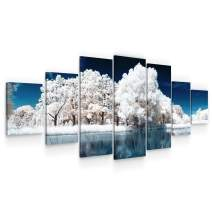 Startonight Huge Canvas Wall Art - Frozen Forest and Lake Large Framed Set of 7 40 x 95 Inches