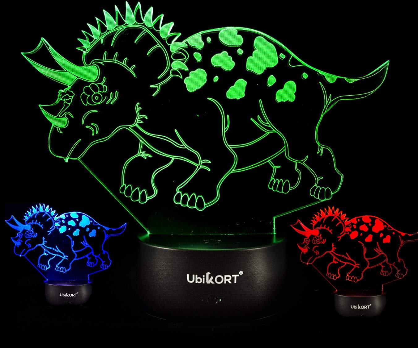 UbiKORT Dinosaur Lamp Night Light Triceratops Dinosaur Light Jurassic 3D Dinosaur Lamps for Boys Room Great Birthday Gift, 3D LED Illusion Lamp 7 Colors Remote Control