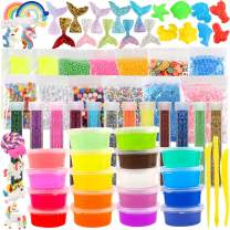 3 otters DIY Slime Kit, 73PCS Slime DIY Crystal Slime Kits Slime & Putty Toys for Girls Boys, Colorful Accessories