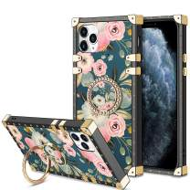 HoneyAKE Case for iPhone 11 Pro Case with 360 Degree Rotation Ring Stand Holder Floral Flower Elegant Soft TPU Reinforced Corner Shock-Absorbing Protective for iPhone 11 Pro 5.8 inch