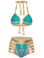 Ekouaer Women Tribal Print Bikini African Metallic Swimsuit Two Piece Beachwear Cutout Halter Neck Bathing Suit Swimwear