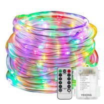 YIHONG Fairy Lights LED Rope Lights Battery Operated - 33ft 8 Mode String Lights Waterproof - Firefly Lights with Remote Timer for Christmas Garden Party Indoor Decor-Multicolor