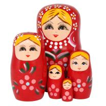 Winterworm Set of 5 Blonde Girl Pink Flower Red Wooden Nesting Dolls Matryoshka Russian Doll Popular Handmade Stacking Toys Kids Gifts Christmas New Year Home Decoration