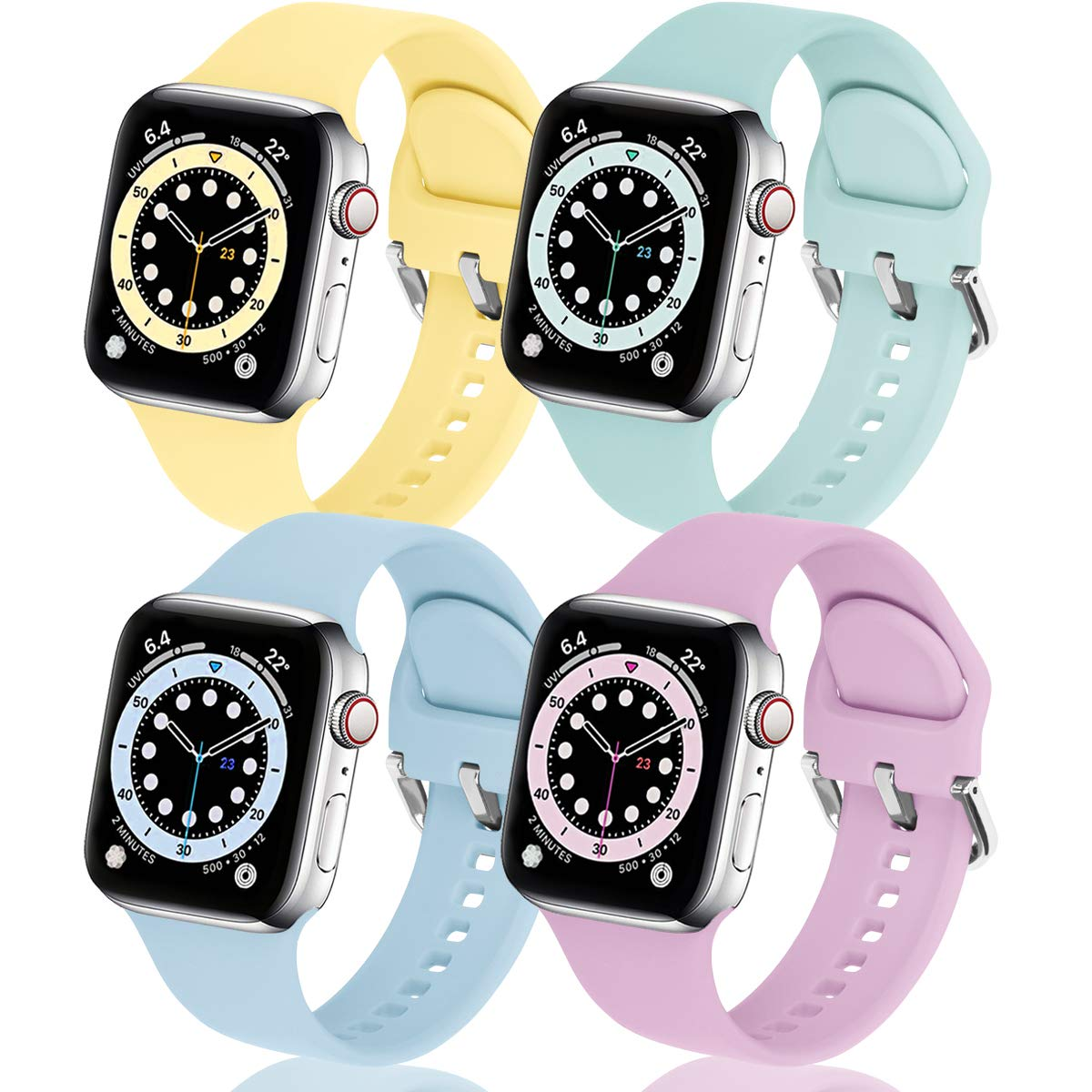 eCamframe Bands Compatible with Apple Watch Band 40mm 38mm 42mm 44mm, 4 Pack Soft Silicone Sport Replacement Wristband Compatible with iWatch Series 6 5 4 3 2 1 & SE Men Women