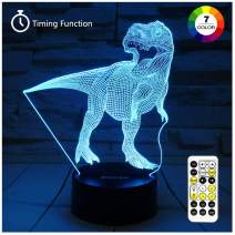 Dinosaur Toys, T Rex Night Lights for Kids 7 Colors Changing 3D Night Light with Timer & Remote Control & Smart Touch, T Rex Toys Birthday Gifts for Boys Age 2 3 4 5 6+ Year Old Boy Gifts (T-Rex 2)
