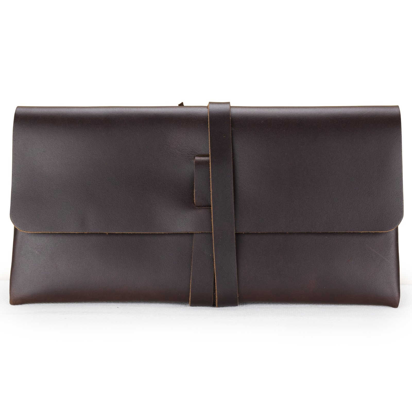 Ancicraft Leather Pouch with Strap Phone Wallet Pen Pencil Case Holder Stationery Kits Bag Purse Handmade Dark Coffee Gift