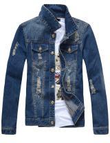 sandbank Men's Classic Button Slim Fit Ripped Washed Denim Jacket Jean Coat