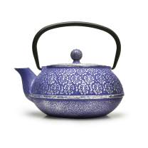 Primula Blue Floral Japanese Tetsubin Cast Iron Teapot Stainless Steel Infuser for Loose Leaf Tea, Durable Construction, Enameled Interior, 34 oz