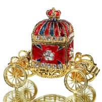 YUFENG Hinged Trinket Box Hand-painted Patterns Trinket Jewelry Box Decorated Bejeweled Box Collectible (red carriage)