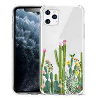 Unov Clear with Design for iPhone 11 Pro Case Slim Protective Soft TPU Bumper Embossed Flower Pattern Cover 5.8 Inch (Cactus Succulents)