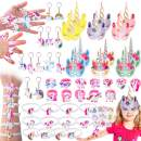 Pawliss 60 Pack Unicorn Party Favors Supplies, Masks, Rings, Bracelets, Keychains, Tattoos, Kids Girls Birthday Novel Rainbow Gifts Toys, for 12 Guests