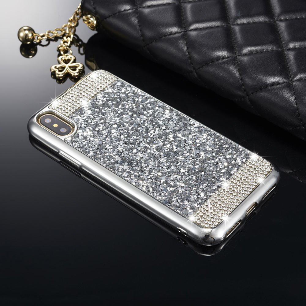 """ZCDAYE Case for iPhone Xs/iPhone X,Bling Glitter [Crystal Rhinestone Diamond] Soft TPU Rubber Silicone [Electroplating Edge] Shockproof Protective Back Case for iPhone Xs/iPhone X 5.8"""" - Silver"""