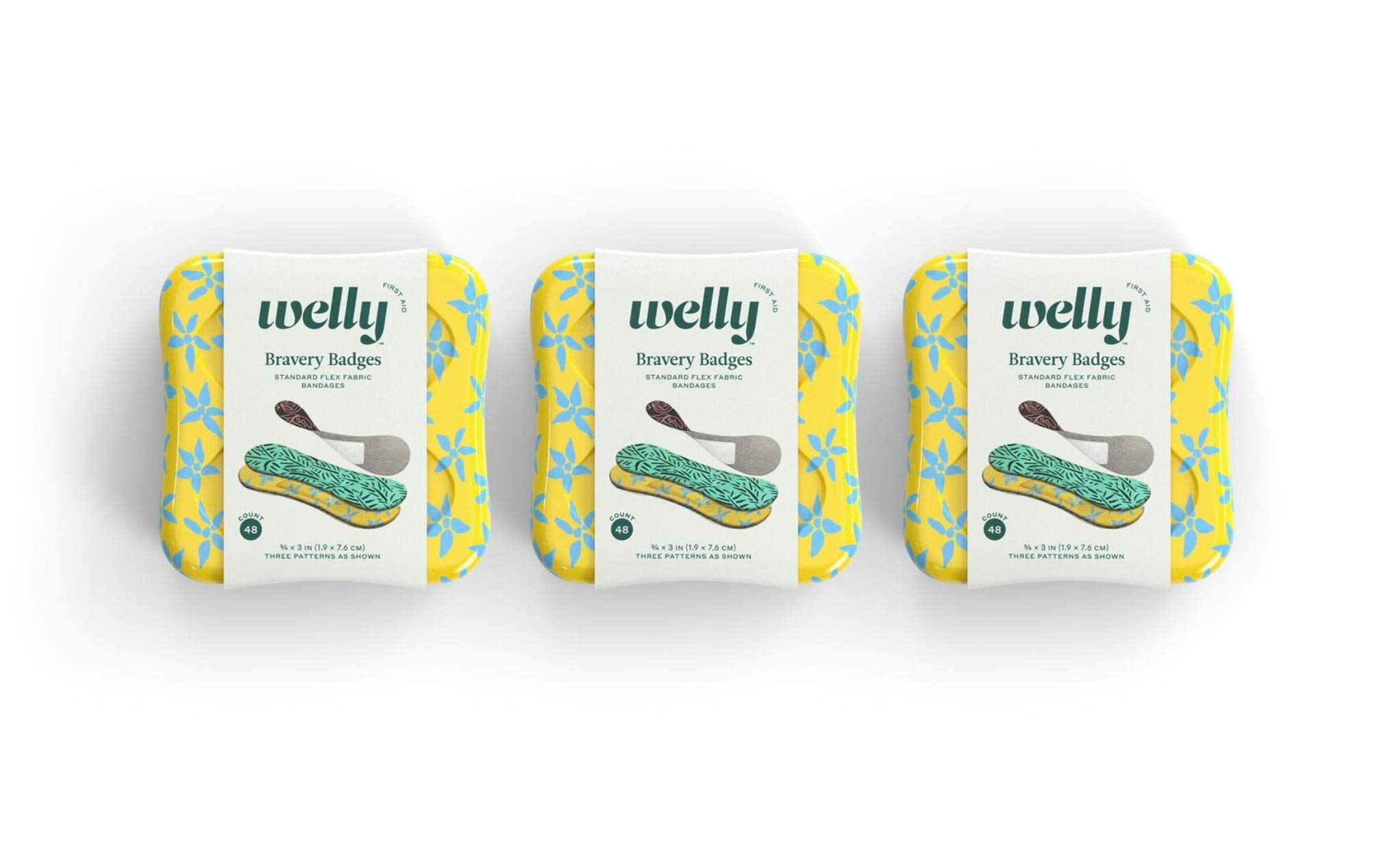 Welly Bandages - Bravery Badges, Flexible Fabric, Adhesive, Standard Shape, Floral Patterns - 48 ct, 3 Pack