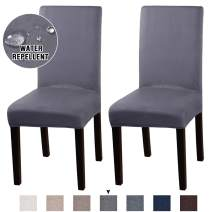 Turquoize Suede Stretch Dining Chair Covers Set of 2 Chair Covers for Dining Room Parson Chair Slipcovers Chair Protector Feature Water Repellent Soft and Machine Washed (Gray, 2)
