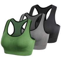 Lykoxa Racerback Sports Bras,Seamless Comfortable Med Support Yoga Bra with Removable Pads for Women