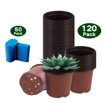 Bershaker Nursery Pots,120 Packs 4 Inches Plastic Plant Nursery Pots with 50 Pcs Plant Labels, Seed Starting Pot Flower Plant Container for Succulents, Seedlings, Cuttings, Transplanting