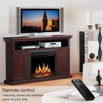 JAMFLY Electric Fireplace Inserts Freestanding Wood Heater Stone Mantel 750W 1500W (Brown, 55'')