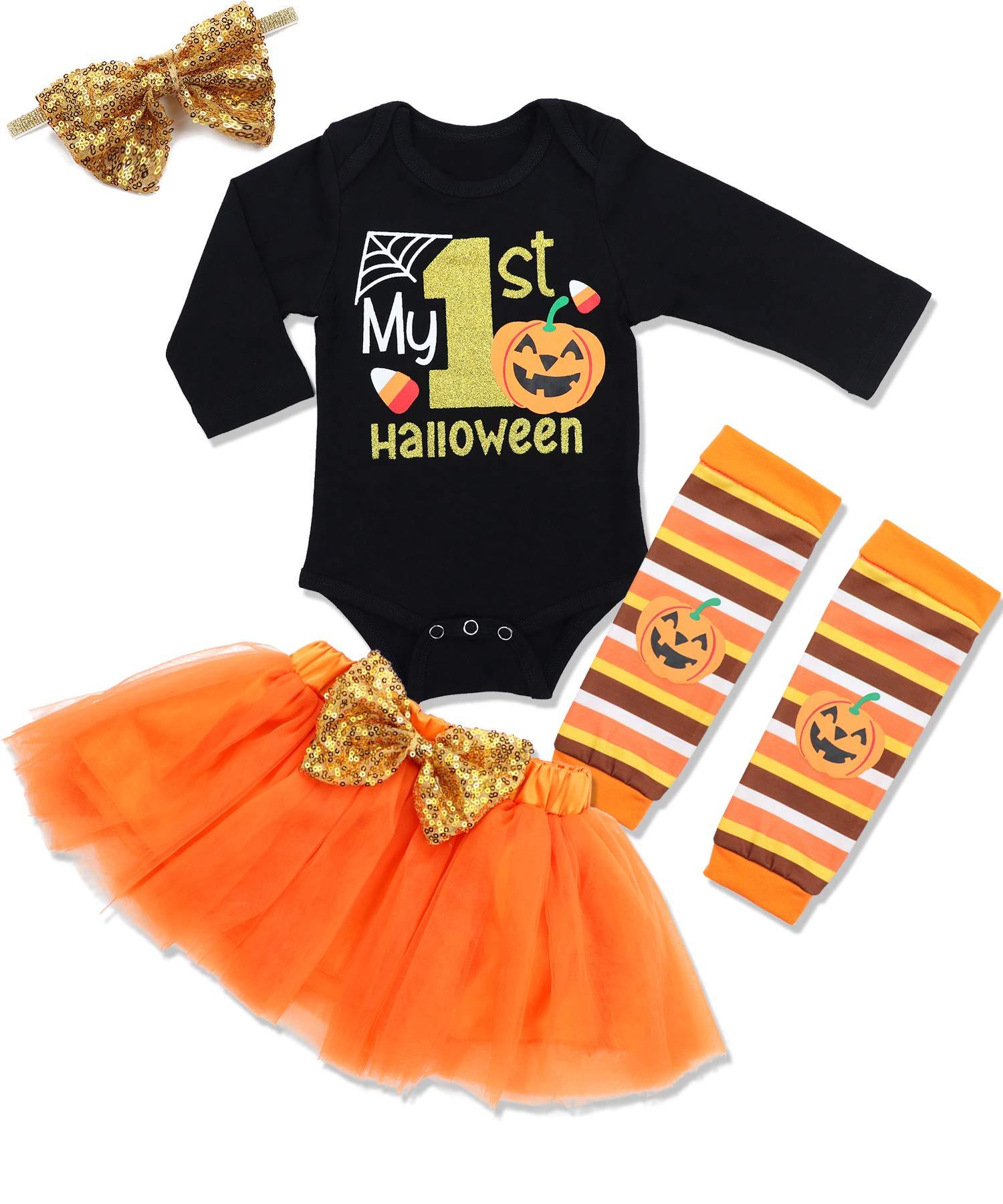 Baby Girl First Halloween Tutu Dress Outfit My 1st Halloween Romper + Leg Warmers + Headband+Tutu Dress Clothing Set
