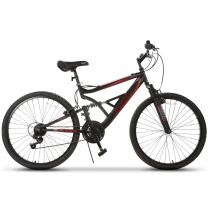 Murtisol Mountain Bike 26 inches Hybrid Bike with Front/Full Suspension, Hardtail Bicycle with 18 Speeds Derailleur, Designed Heavy-Duty Kickstand, Adjustable Seat,Black Red