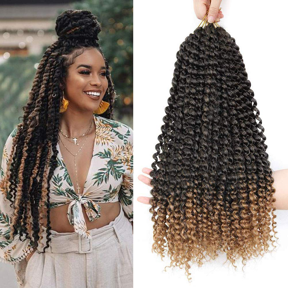 CLIONE 7 Packs Passion Twist Hair Ombre Curly Crochet Braids Bohemian Locs for Passion Twist Water Wave Synthetic Braiding Hair Extensions (18 Inch,22strands/pack,T27)