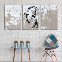 "wall26 - 3 Panel Canvas Wall Art - Triptych Street Graffiti Series - Marilyn Stencil - Giclee Print Gallery Wrap Modern Home Decor Ready to Hang - 16""x24"" x 3 Panels"