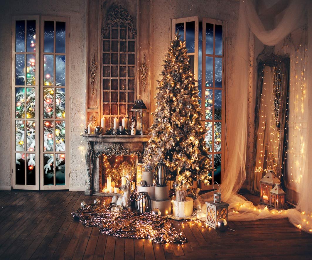 AIIKES 10x8FT Christmas Backdrops Fireplace Christmas Backdrops for Photography Wood Photo Backdrops Party Home Decoration Photo Booth Studio Props 11-771