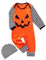 Shalofer Baby Boys Girls Halloween Outfits Funny Costume Pumpkin Romper
